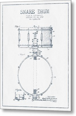 Snare Drum Patent Drawing From 1939 - Blue Ink Metal Print by Aged Pixel