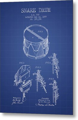 Snare Drum Patent From 1889- Blueprint Metal Print by Aged Pixel