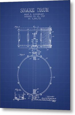 Snare Drum Patent From 1939 - Blueprint Metal Print by Aged Pixel