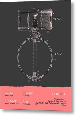 Snare Drum Patent From 1939 - Gray Salmon Metal Print by Aged Pixel