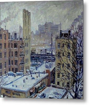 Snow At Dusk New York City Metal Print by Thor Wickstrom