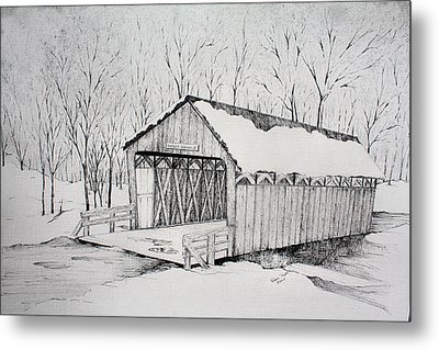 Snow Bridge 2012  Metal Print by Tammie Temple