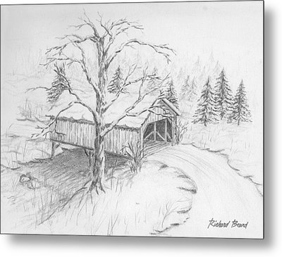 Snow Covered Bridge Metal Print by Richard Beard