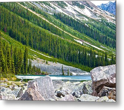 Snow-covered End Of Consolation Lake In Banff Np-ab Metal Print by Ruth Hager