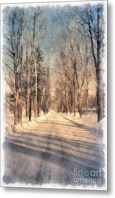Snow Covered New England Road Metal Print by Edward Fielding