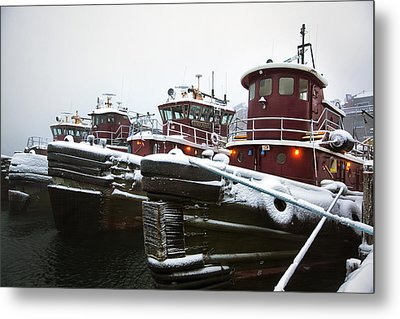Snow Covered Tugboats Metal Print by Eric Gendron