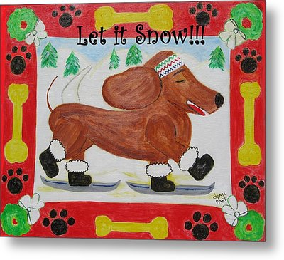 Snow Dog Metal Print by Diane Pape