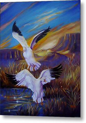 Snow Geese Metal Print by Sherry Strong