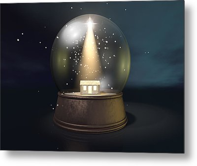 Snow Globe Nativity Scene Night Metal Print by Allan Swart
