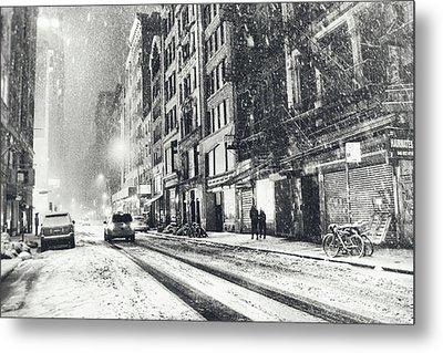 Snow - New York City - Winter Night Metal Print by Vivienne Gucwa