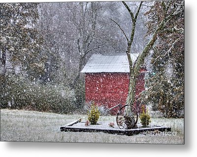 Snow On The Shed Metal Print by Benanne Stiens