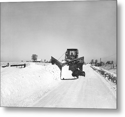 Snow Plow Clearing Roads Metal Print by Underwood Archives