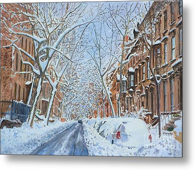 Snow Remsen St. Brooklyn New York Metal Print by Anthony Butera