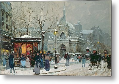 Snow Scene In Paris Metal Print by Eugene Galien-Laloue