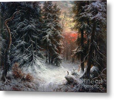 Snow Scene In The Black Forest Metal Print by Carl Friedrich Wilhelm Trautschold