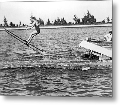 Snow Skis On Water Metal Print by Underwood Archives