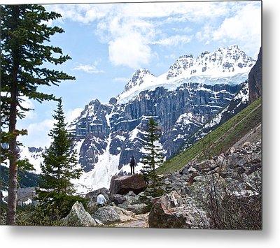 Snow-topped Mountains By Consolation Lakes In Banff Np-ab Metal Print by Ruth Hager