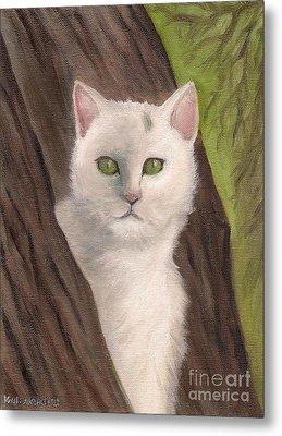 Snow White The Cat Metal Print by Kostas Koutsoukanidis