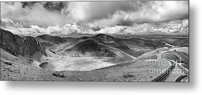 Snowdonia Panorama In Black And White Metal Print by Jane Rix