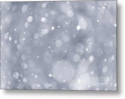 Snowfall Background Metal Print by Elena Elisseeva