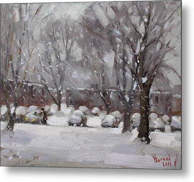 Snowfall In Royal Park Apartments Metal Print by Ylli Haruni