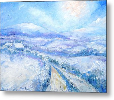 Snowfall On The Laneway  Metal Print by Trudi Doyle