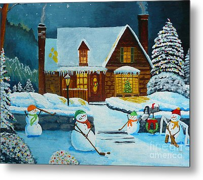 Snowmans Hockey Metal Print by Anthony Dunphy