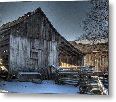 Snowy Barn Metal Print by Jane Linders
