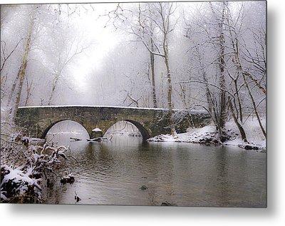 Snowy Bells Mill Road Bridge Metal Print by Bill Cannon