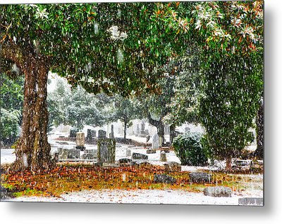 Snowy Day At The Cemetery - Greensboro North Carolina Metal Print by Dan Carmichael
