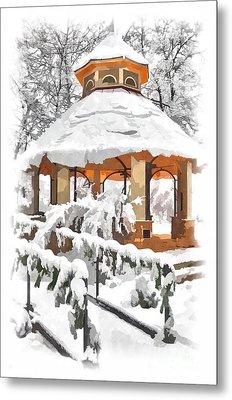 Snowy Gazebo - Greensboro North Carolina II Metal Print by Dan Carmichael