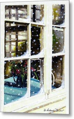 Snowy Inn Window Metal Print by Deborah Burow