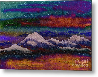 Snowy Mountains On A Colorful Winter Night Metal Print by Beverly Claire Kaiya