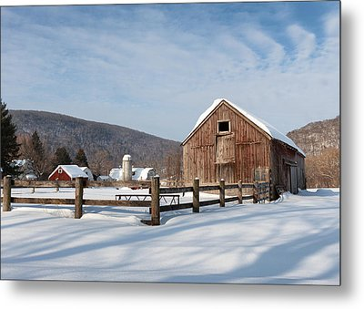 Snowy New England Barns Metal Print by Bill Wakeley