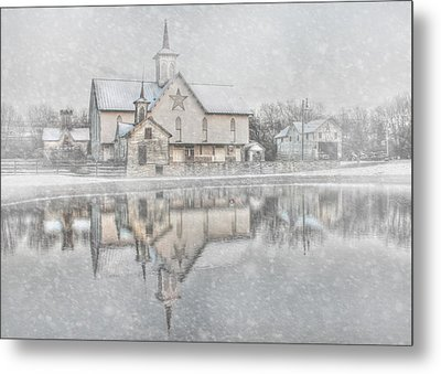Snowy Star Barn Metal Print by Lori Deiter