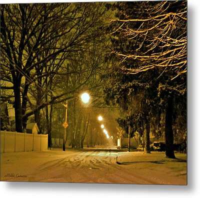 Snowy Winter Night Metal Print by Mikki Cucuzzo
