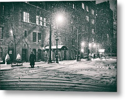 Snowy Winter Night - Sutton Place - New York City Metal Print by Vivienne Gucwa
