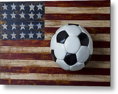 Soccer Ball And Stars And Stripes Metal Print by Garry Gay