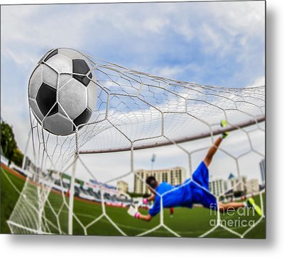Soccer Ball In Goal  Metal Print by Anek Suwannaphoom