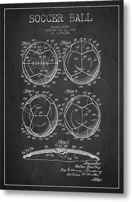 Soccer Ball Patent Drawing From 1932 - Dark Metal Print by Aged Pixel