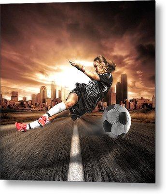 Soccer Girl Metal Print by Erik Brede