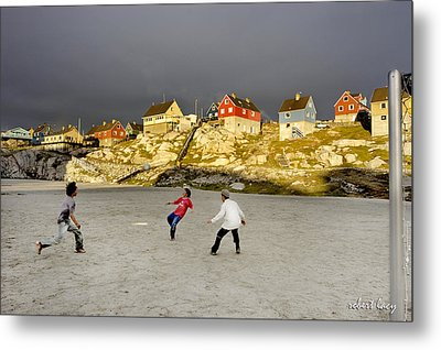 Soccer In Greenland Metal Print by Robert Lacy