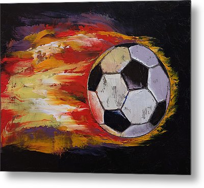 Soccer Metal Print by Michael Creese
