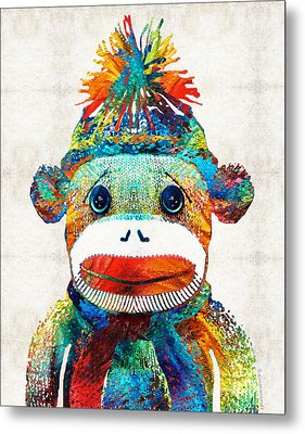 Sock Monkey Art - Your New Best Friend - By Sharon Cummings Metal Print by Sharon Cummings