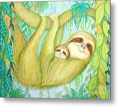 Soggy Mossy Sloth Metal Print by Nick Gustafson