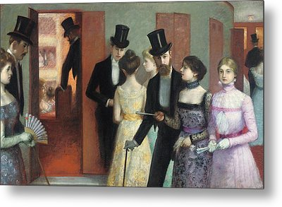Soiree At The Opera Metal Print by Ernest Rouart