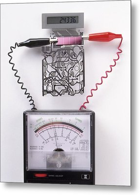 Solar Cell Inside A Calculator Metal Print by Dorling Kindersley/uig