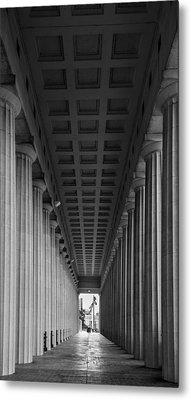 Soldier Field Colonnade Chicago B W B W Metal Print by Steve Gadomski
