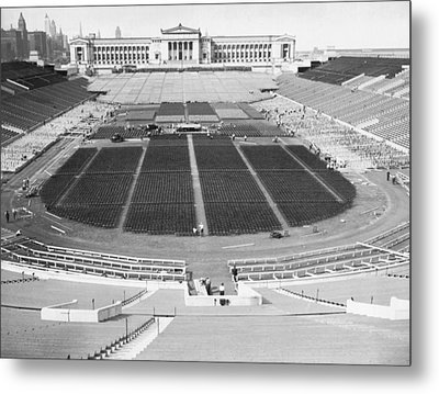 Soldier's Field Boxing Match Metal Print by Underwood Archives