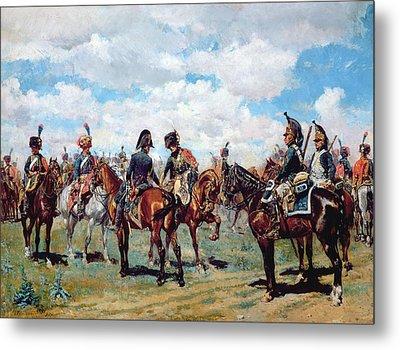 Soldiers On Horseback Metal Print by Jean-Louis Ernest Meissonier